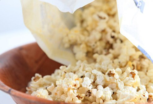 A photo of a bowl of microwave popcorn.