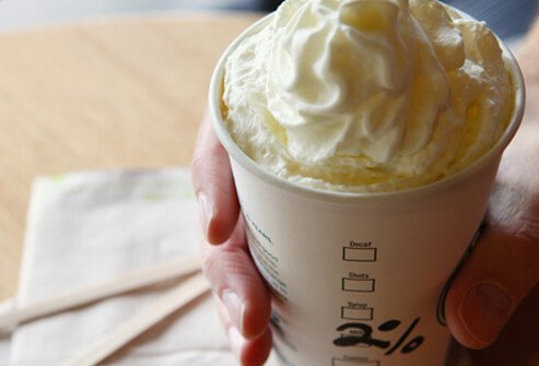 A photo of a 2% milk latte with whipped cream.