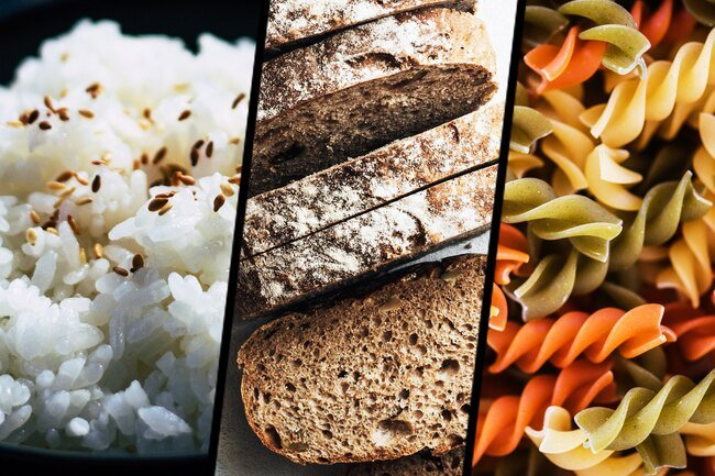White rice, bread, and pasta converts to sugar and increases the risk of weight gain, especially around the middle.