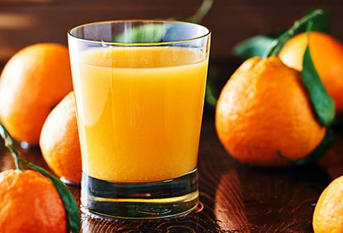One cup of refreshing OJ has plenty of water for hydration.