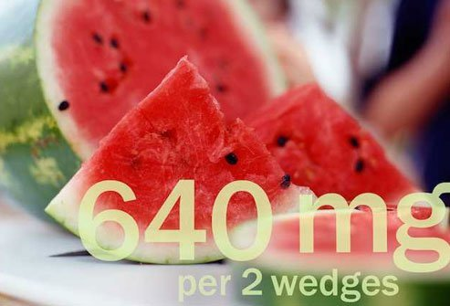 Hydrating watermelon serves up lots of potassium per serving.