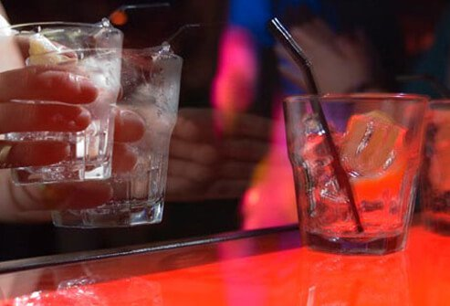 Photo of drinks on bar.