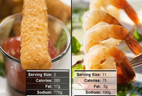 Photo of fish sticks and shrimp.