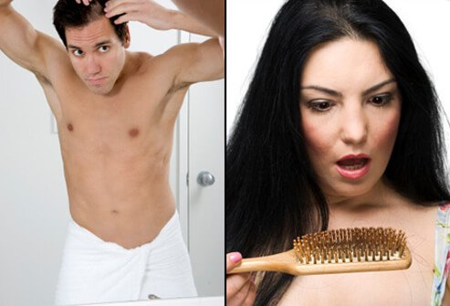 A man examines his scalp for hair loss (left). A woman is shocked by hair loss after brushing her hair (right).