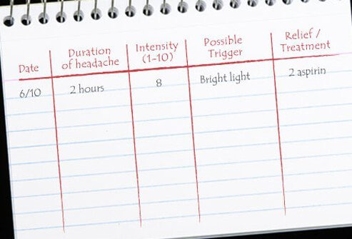 Keeping a headache diary may help you figure out what triggers your headaches.