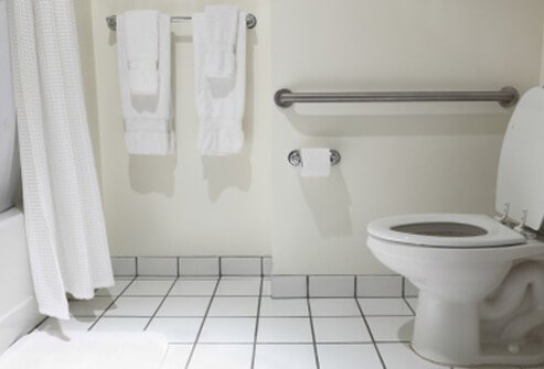 Install grab bars on the wall of the bathtub and shower and next to the toilet.