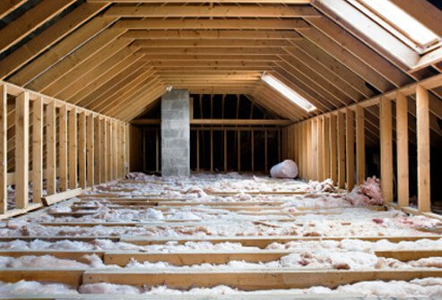 Older insulation may contain asbestos.