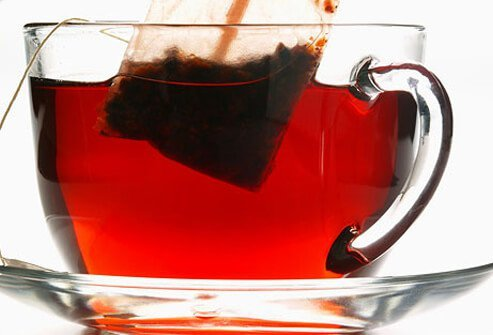 A photo of a cup of hibiscus tea.