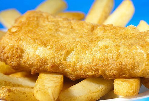 A photo of fish and chips.