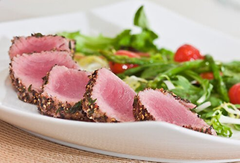 Herb-crusted seared tuna.