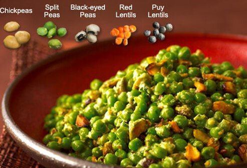 Related to beans, lentils and peas are high in fiber and protein and low in fat, too.