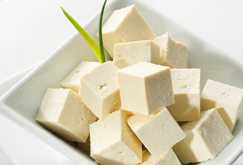 A bowl of cubed tofu.