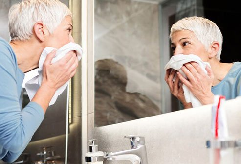 Wash your face at night to minimize the potential for breakouts.