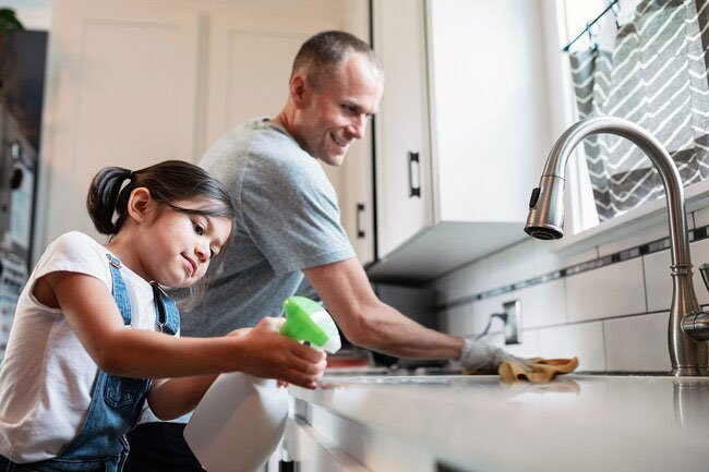 Keep busy areas and rooms like kitchens and bathrooms clean.