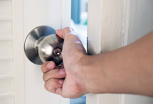 Door handles are often loaded with bacteria.