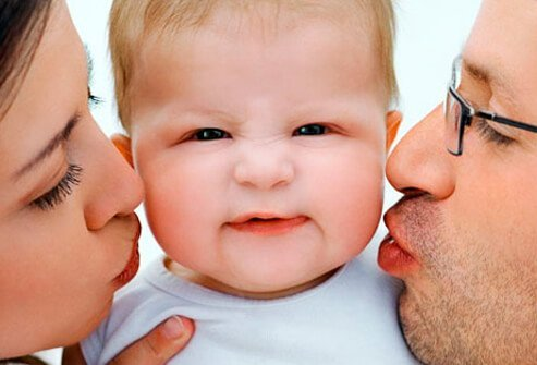Parents kissing their baby on the cheeks.
