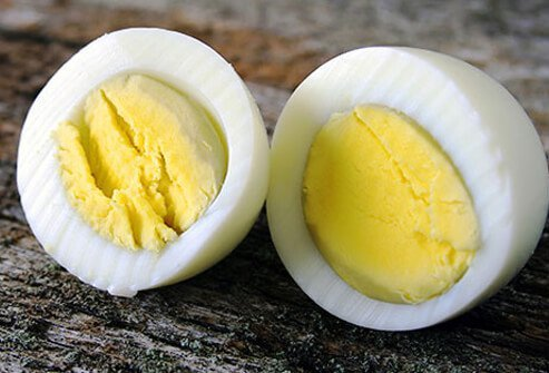 Photo of a hard boiled egg.