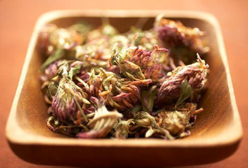 A bowl of red clover, a natural remedy for menopause symptoms.
