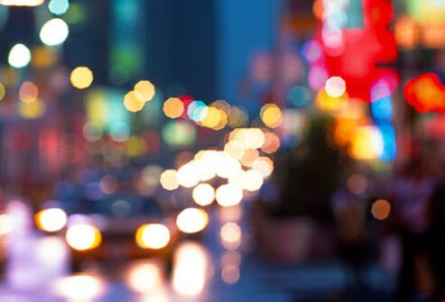 A blurred photo of city lights.