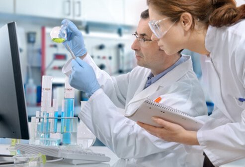 Researchers in a multiple sclerosis lab research.