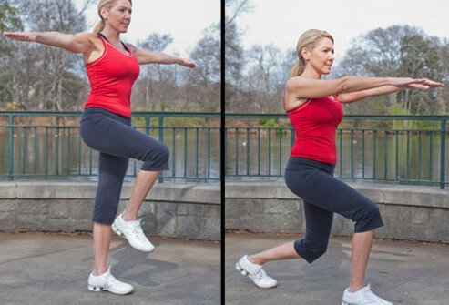 Photo of woman doing lunge.