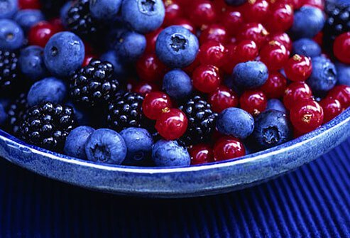 Blueberries, blackberries and currants in a bowl.