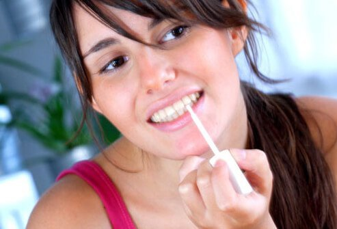Most home tooth whitening kits contain carbamide peroxide or hydrogen peroxide.