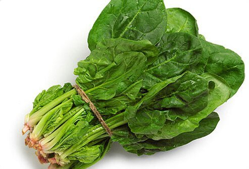 Spinach on a white background.