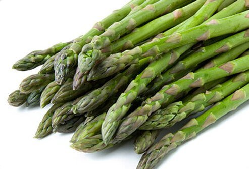 Asparagus on a white background.