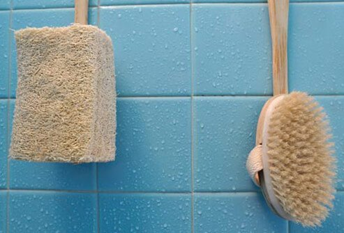 Protect joints by using a loofah or bath mitt.
