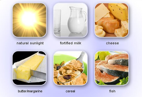 Good sources of vitamin D include natural sunlight, fortified milk, cheese, butter/margarine, cereal, and fish.