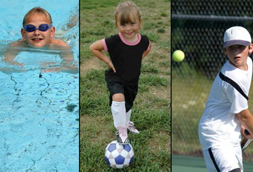 A boy swims, a girl plays soccer and a boy plays tennis.
