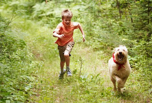 Photo of boy and dog running in woods.