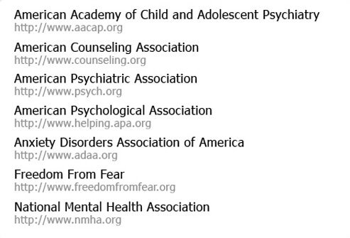 The following associations can provide more information about phobias.