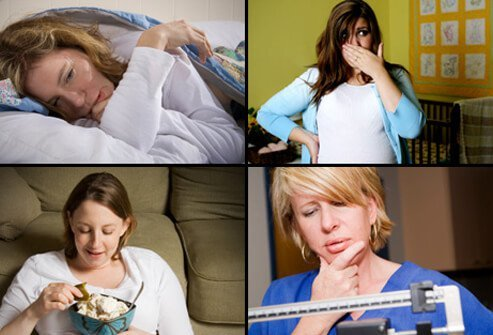 An exhausted woman (top left), woman with morning sickness (top right), woman eating a pickle with ice cream (bottom left), and woman weighing herself (bottom right).