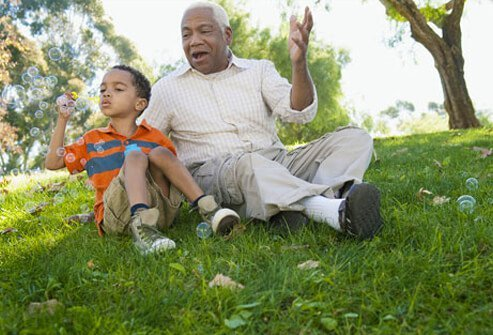 Photo of grandfather, a prostate cancer survivor, and grandson.