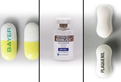 Two classes of medications are used in treating rheumatoid arthritis: fast-acting 'first-line drugs' (Bayer) and slow-acting 'second-line drugs' (Plaquenil and Remicade).