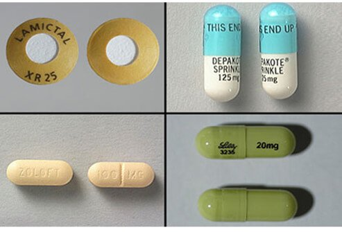 Lamictal XR 25 mg tablet, Depakote 125 mg sprinkle cap, Zoloft 100 mg tablet, Cymbalta 20 mg capsule