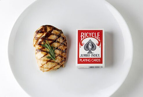 Photo of chicken and card deck.