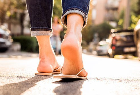 Flip flops can inflame your feet and ankles.
