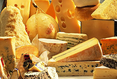 Aged cheese assortment.