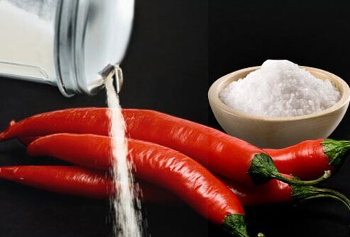 Photo of peppers, sugar, and salt.