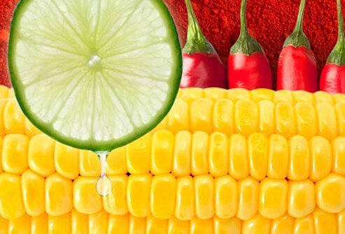 Photo of corn, lime, and chili.