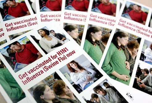 Pamphlets encourage people to get vaccinated for H1N1 influenza swine flu.