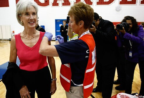 U.S. Health and Human Services Secretary Kathleen Sebelius receives her flu vaccination during an exercise at TC Williams High School Sept. 11, 2009, in Alexandria, Virginia.