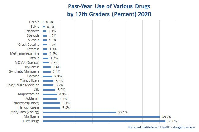 2013 statistics graph chart shows use of various drugs by 12th graders (percent).