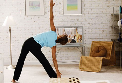 Photo of a woman stretching.