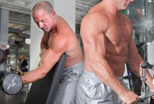 A super set of tricep and bicep exercises.