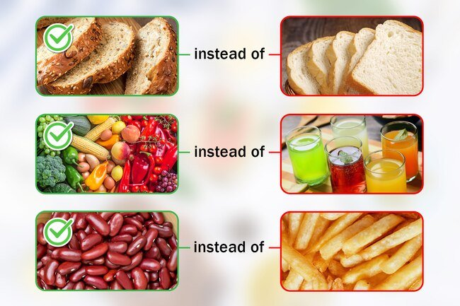 Look for unrefined whole grains like quinoa, rye, and barley instead of highly processed white bread and pastries.