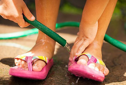 Wear flip flops at the pool to reduce your risk of catching plantar warts.